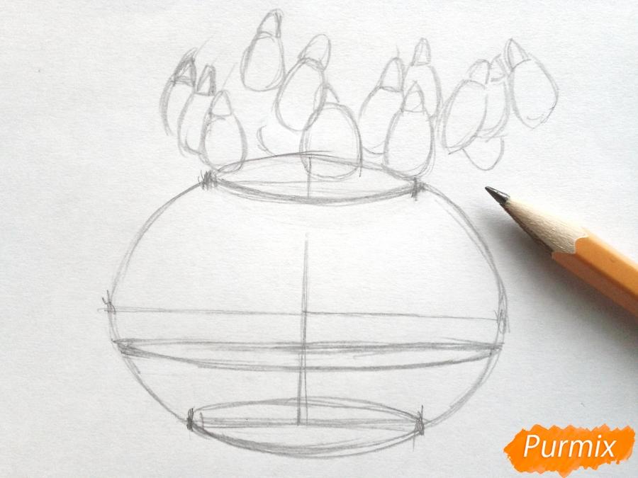 Рисуем букет подснежников в вазе карандашами - фото 3