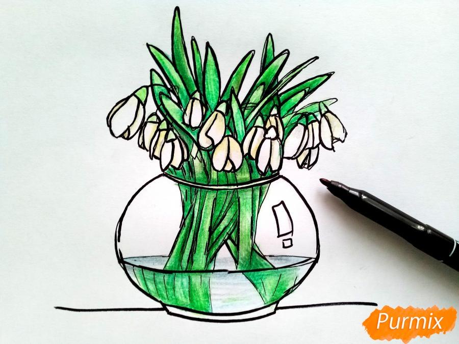 Рисуем букет подснежников в вазе карандашами - фото 8
