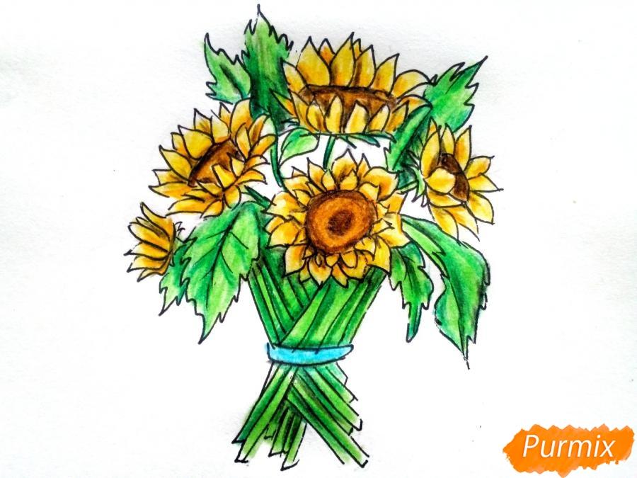 Рисуем букет подсолнухов цветными карандашами - шаг 10