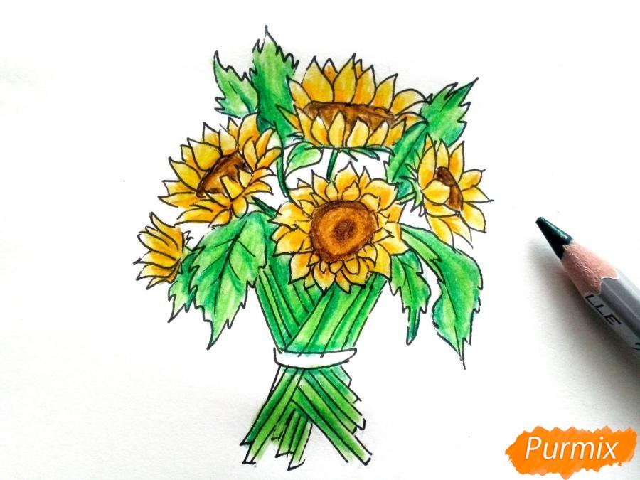 Рисуем букет подсолнухов цветными карандашами - фото 8