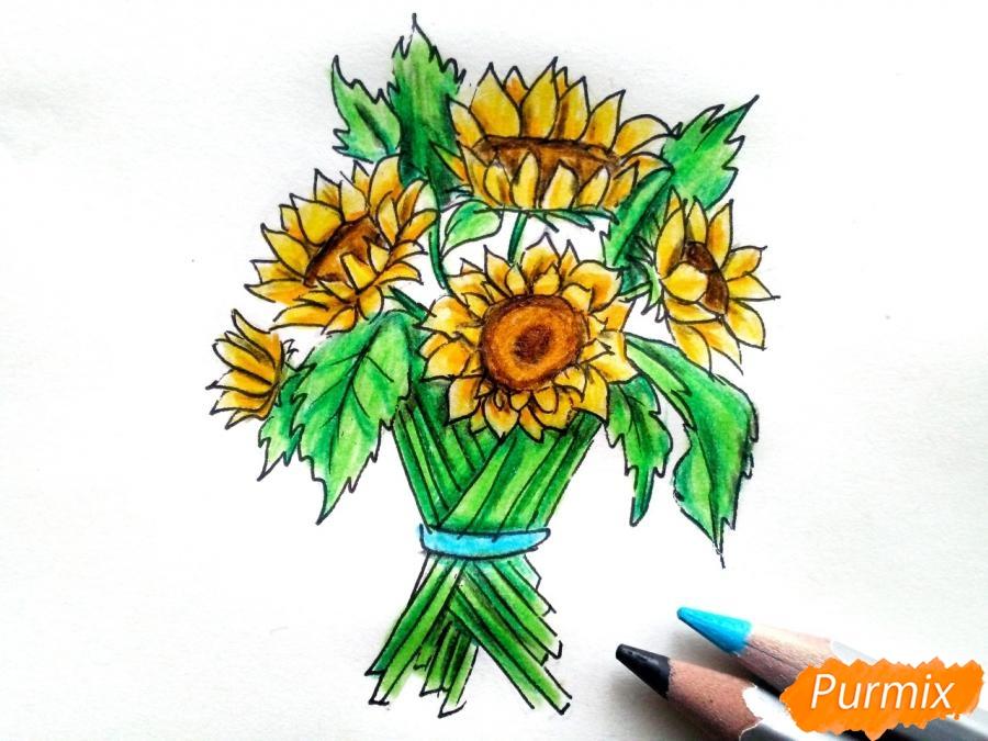 Рисуем букет подсолнухов цветными карандашами - фото 9