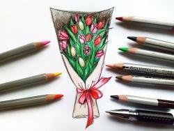 букет тюльпанов карандашом