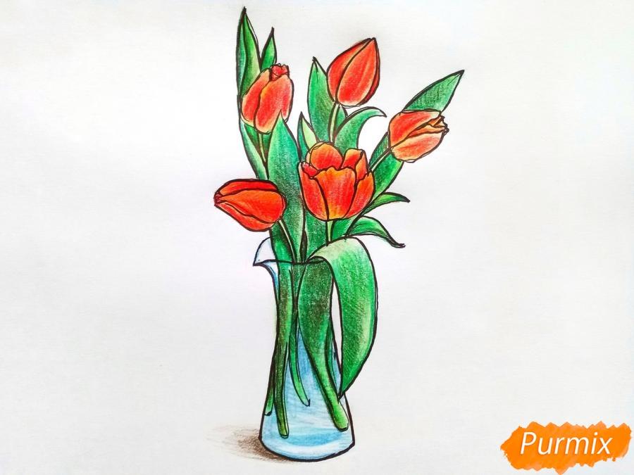 Рисуем тюльпаны в вазе - фото 10
