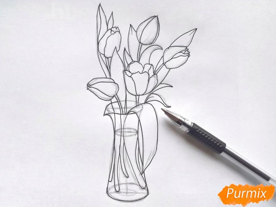 Рисуем тюльпаны в вазе - фото 5