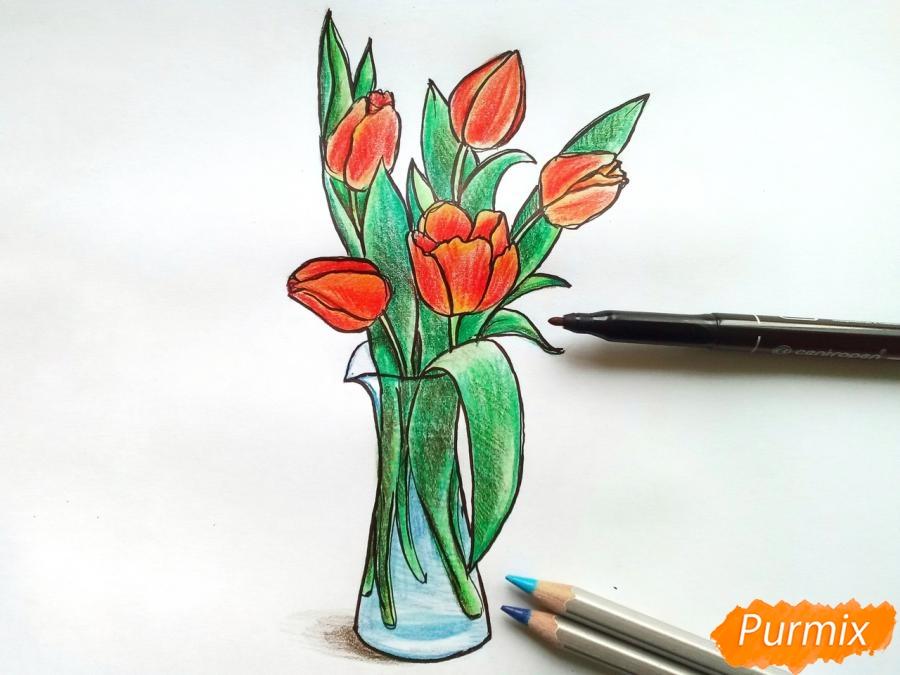 Рисуем тюльпаны в вазе - фото 9