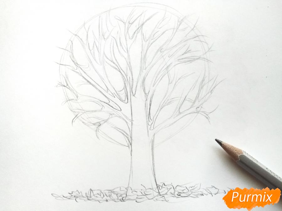Рисуем дерево с опавшими листьями - фото 3