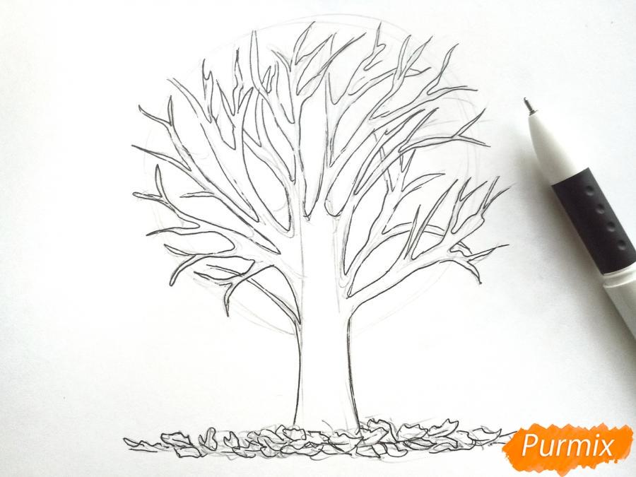 Рисуем дерево с опавшими листьями - фото 4