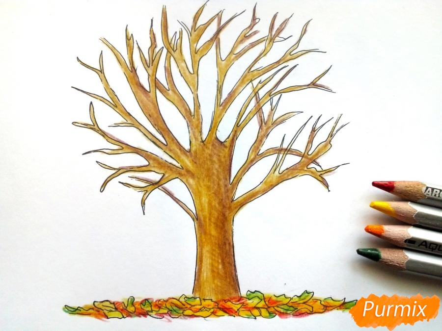Рисуем дерево с опавшими листьями - фото 6
