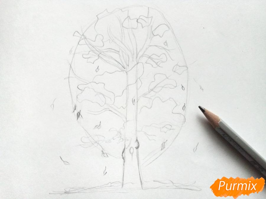 Рисуем дерево с падающими листьями - фото 2