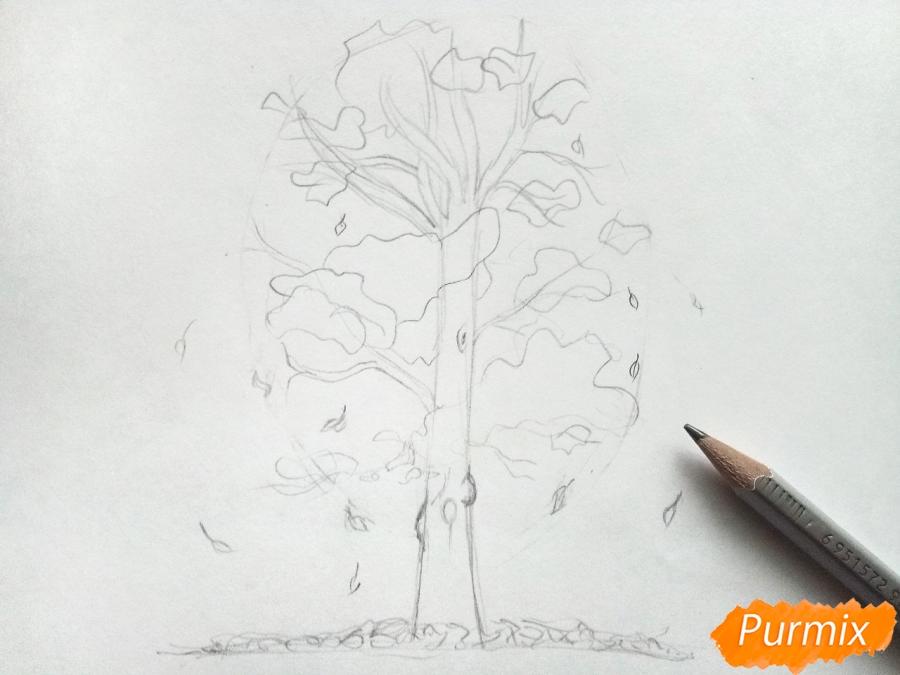 Рисуем дерево с падающими листьями - фото 3