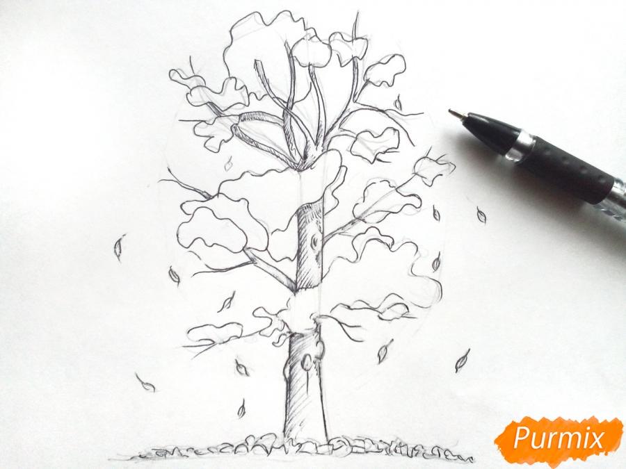 Рисуем дерево с падающими листьями - фото 4