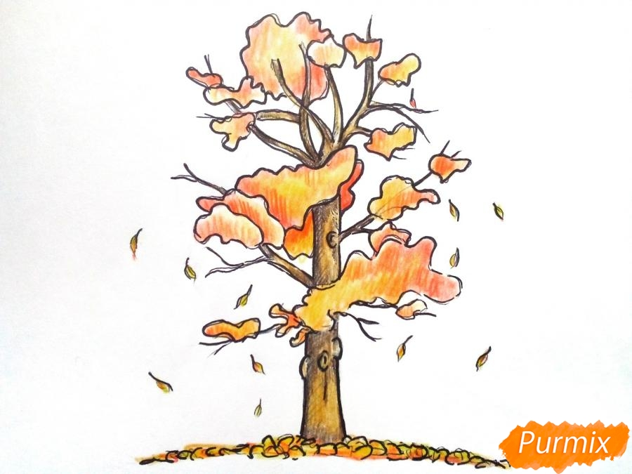 Рисуем дерево с падающими листьями - фото 7