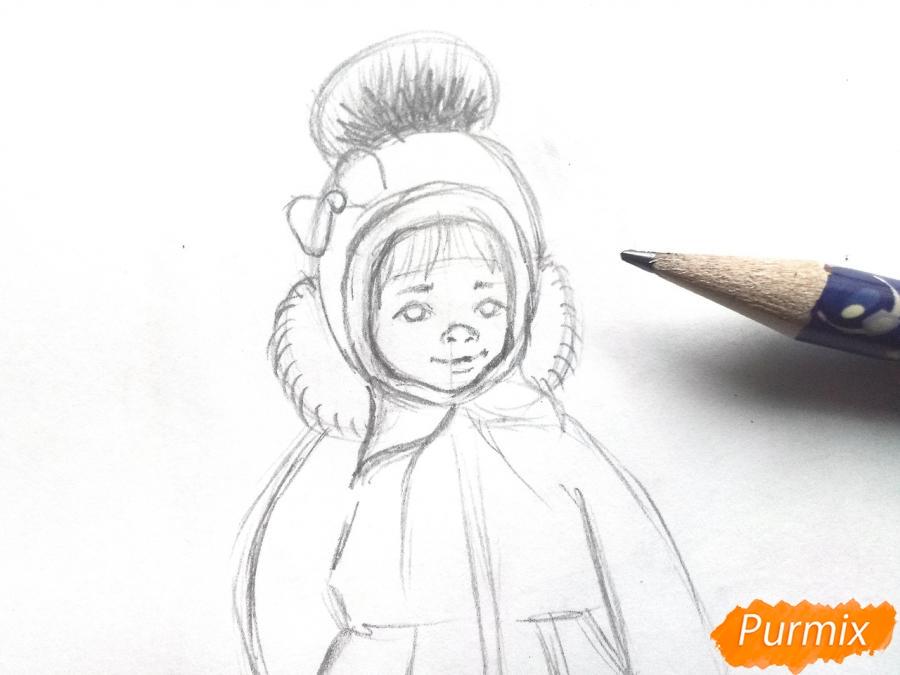 Рисуем девочку в зимней одежде карандашами - шаг 4