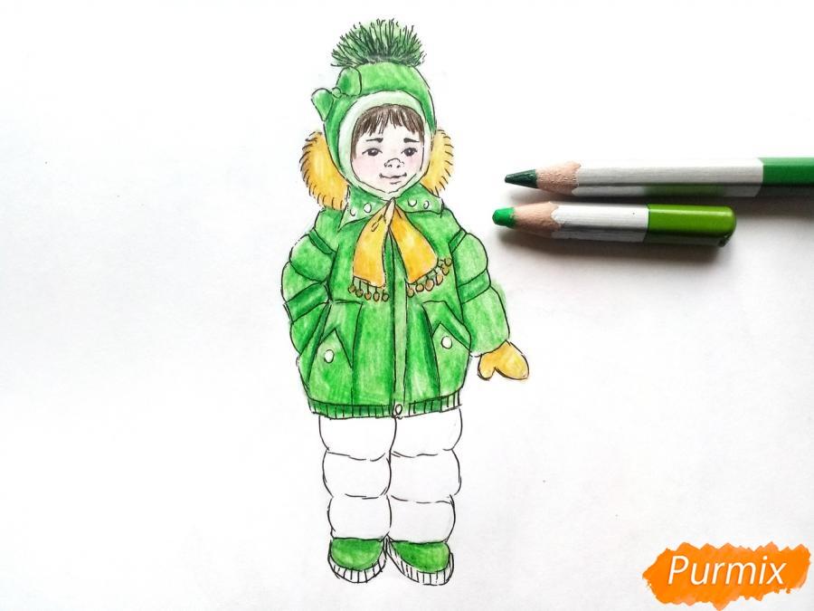 Рисуем девочку в зимней одежде карандашами - шаг 9