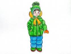 девочку в зимней одежде карандашом
