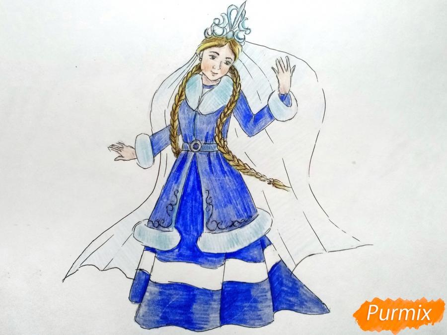 Рисуем зиму в виде девушки - фото 10