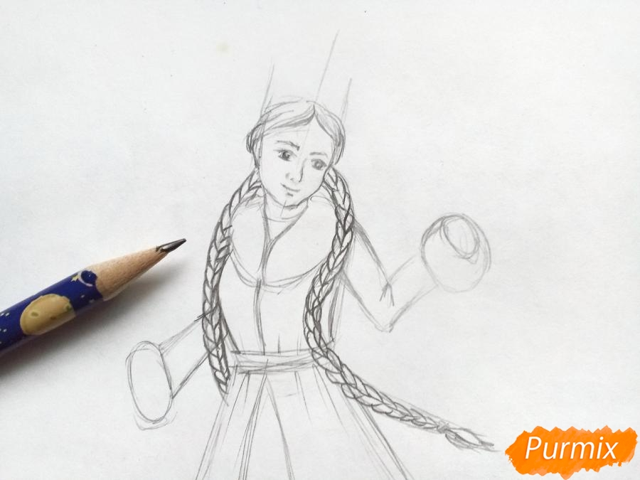 Рисуем зиму в виде девушки - фото 3