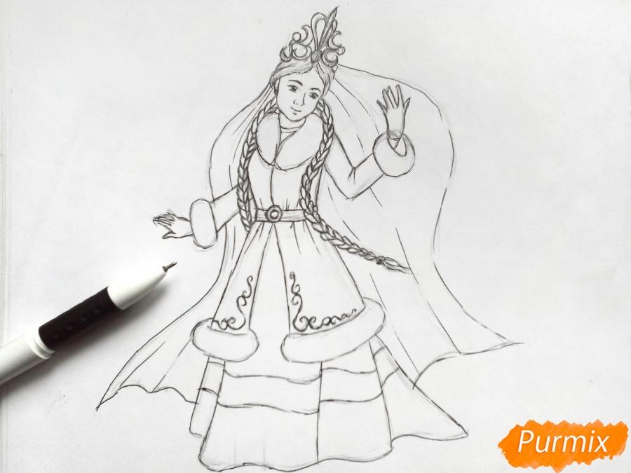 Рисуем зиму в виде девушки - фото 5