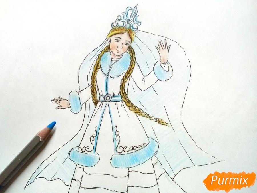 Рисуем зиму в виде девушки - фото 8