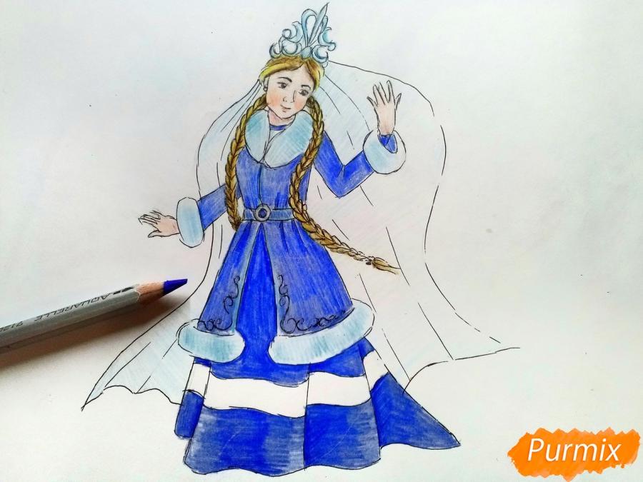 Рисуем зиму в виде девушки - фото 9