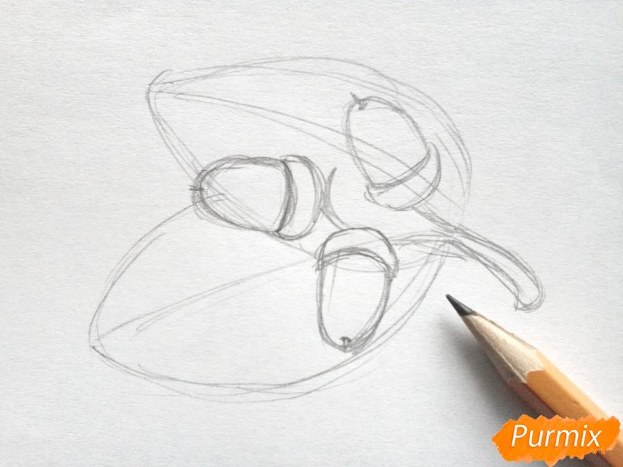 Рисуем дубовый лист с желудем - фото 2