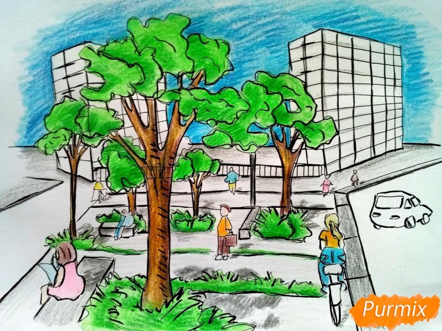 Как нарисовать городской парк карандашами поэтапно