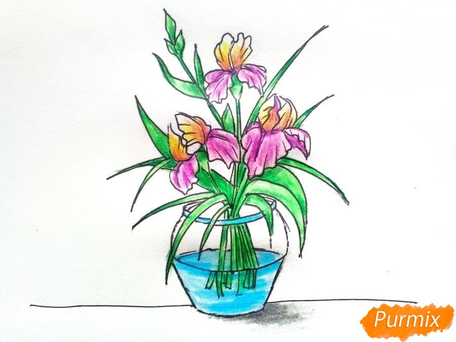 Рисуем ирисы в вазе - фото 10