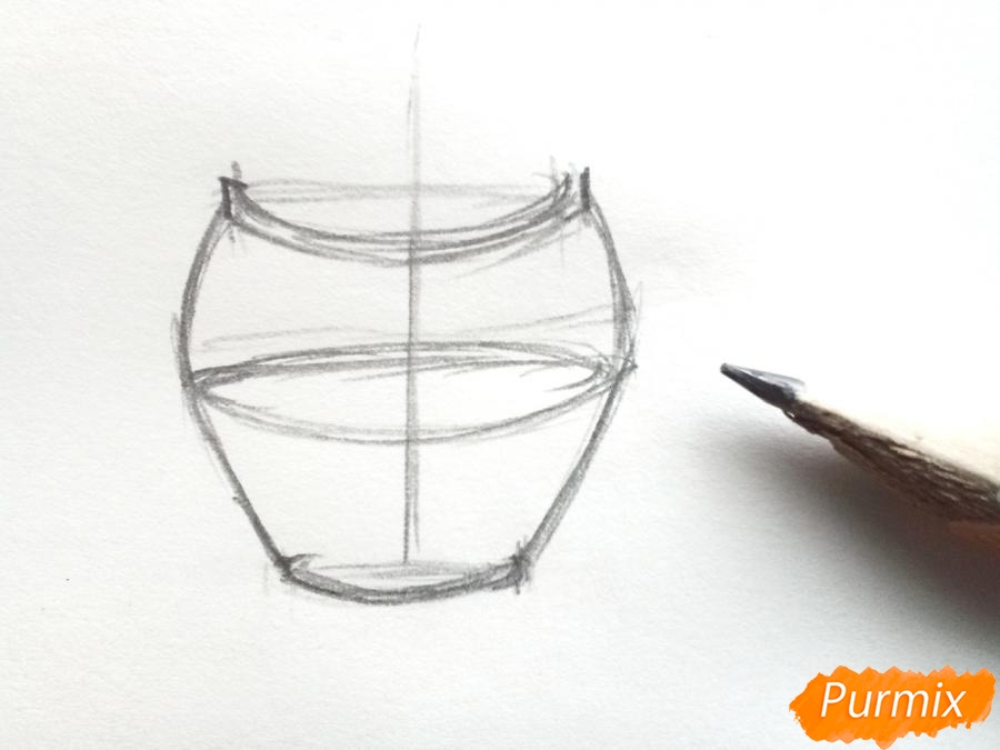 Рисуем ирисы в вазе - шаг 2