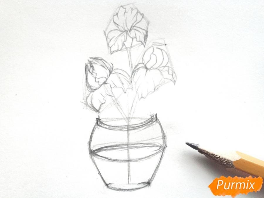Рисуем ирисы в вазе - фото 4