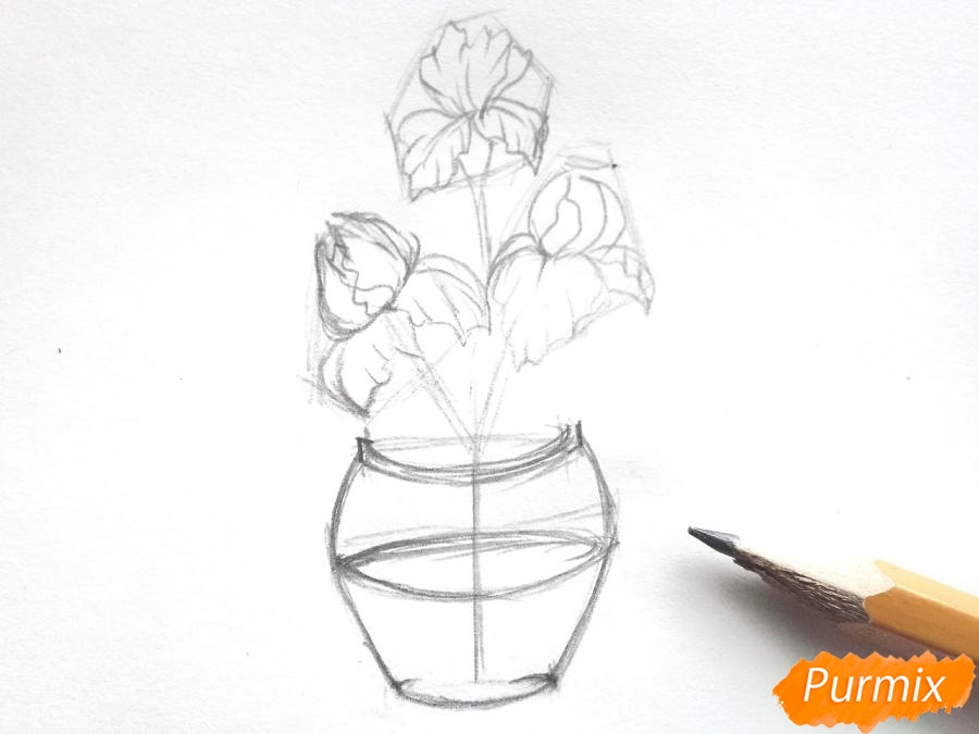 Рисуем ирисы в вазе - шаг 4