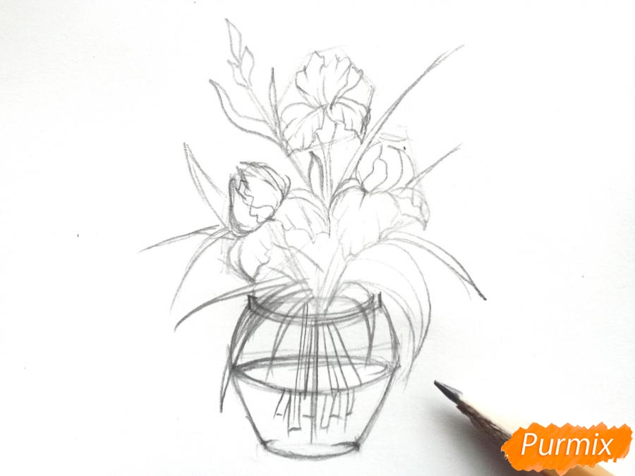 Рисуем ирисы в вазе - фото 5