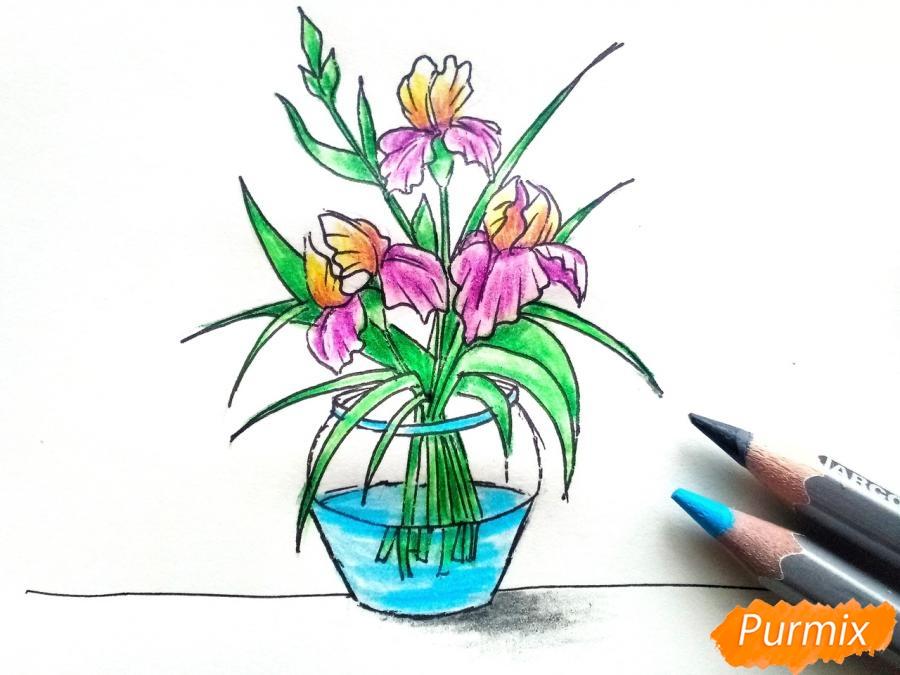 Рисуем ирисы в вазе - фото 9