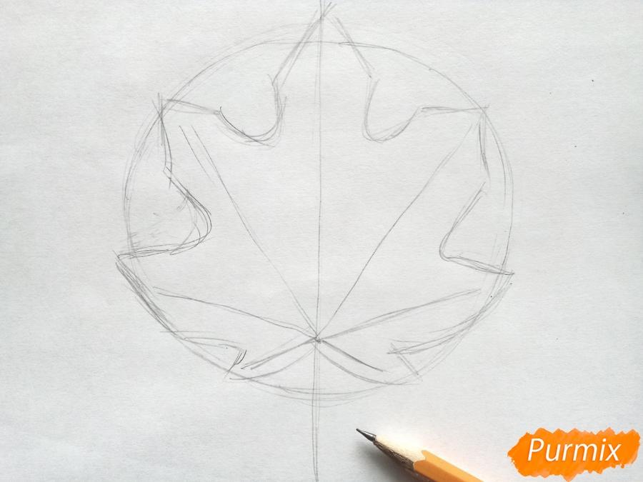 Рисуем кленовый лист цветными карандашами - фото 2