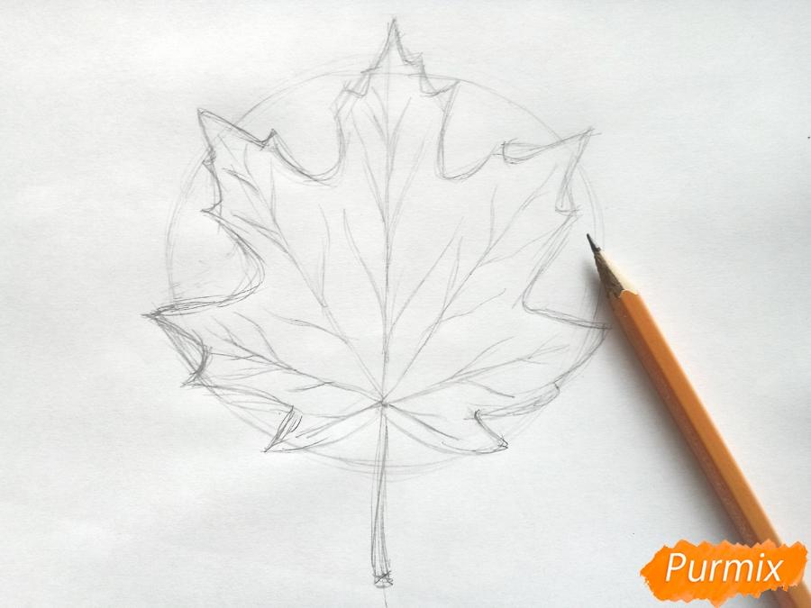 Рисуем кленовый лист цветными карандашами - фото 3