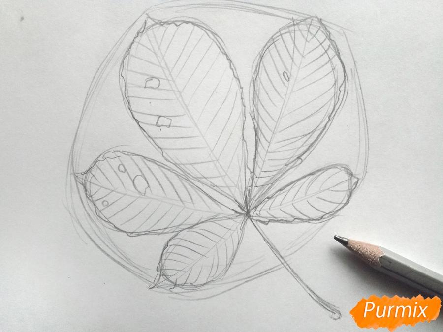 Рисуем лист каштана карандашами - фото 3