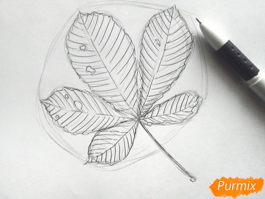 Рисуем лист каштана карандашами - фото 4