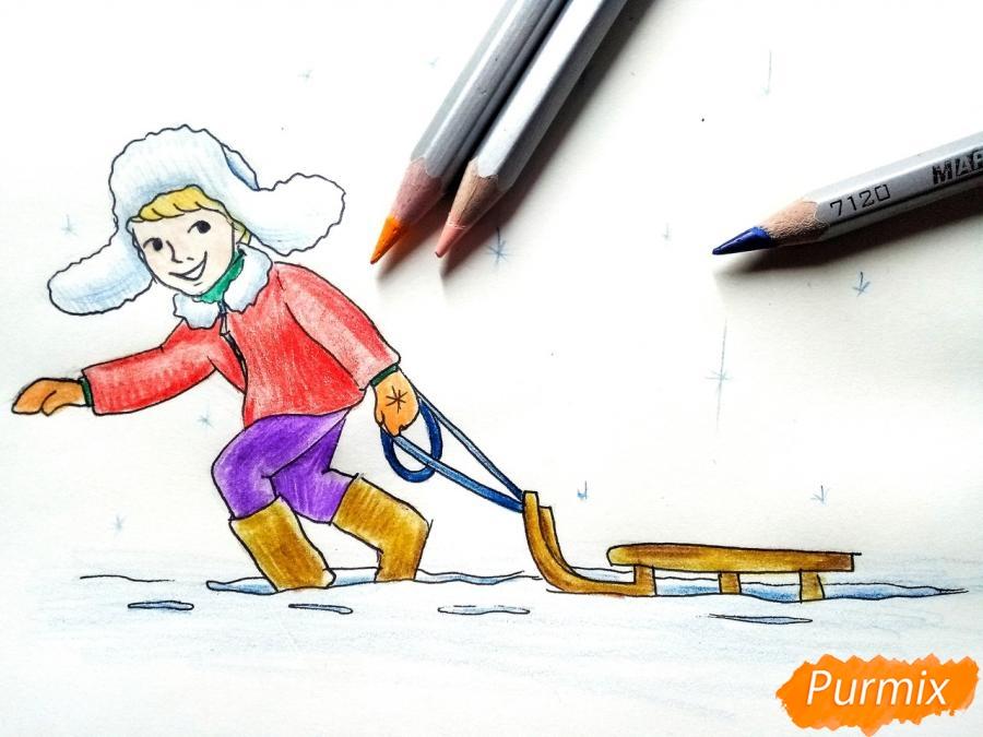 Рисуем мальчика с санками зимой карандашами - фото 10