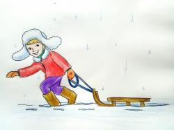 мальчика с санками зимой карандашом