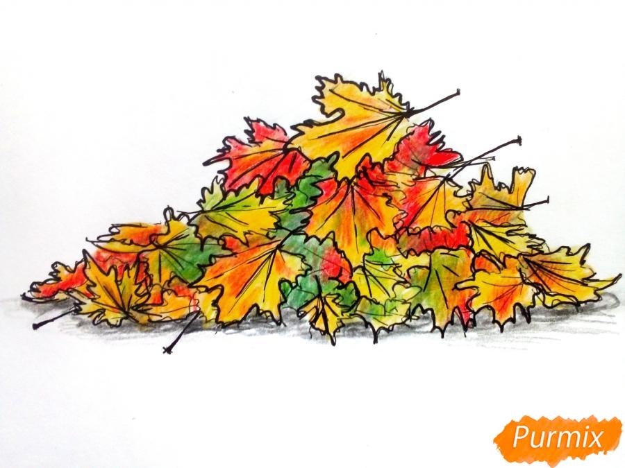 Рисуем опавшие осенние листья цветными карандашами - фото 8