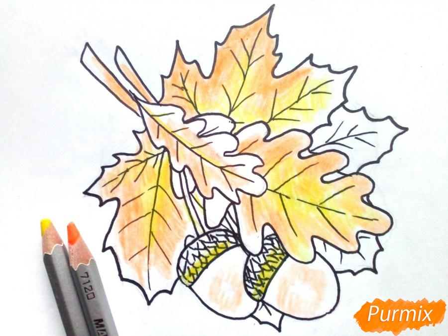Рисуем осенний букет карандашами - фото 5
