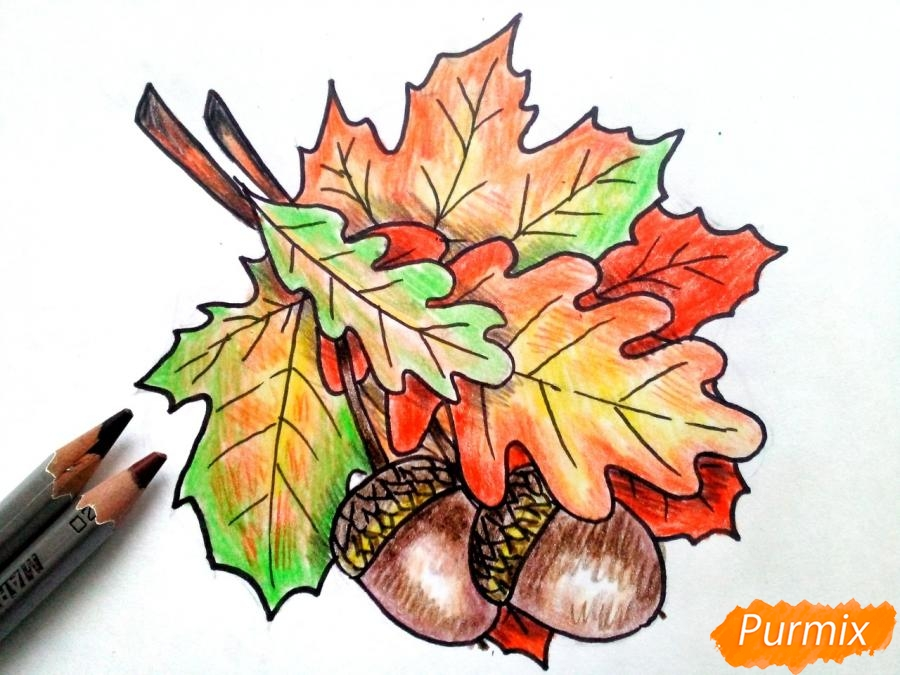 Рисуем осенний букет карандашами - фото 7