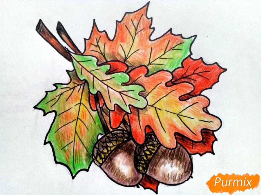 Рисуем осенний букет карандашами - фото 8