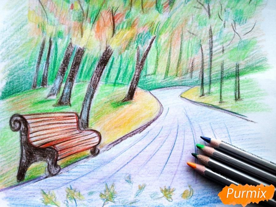 Рисуем осенний парк карандашами - фото 10