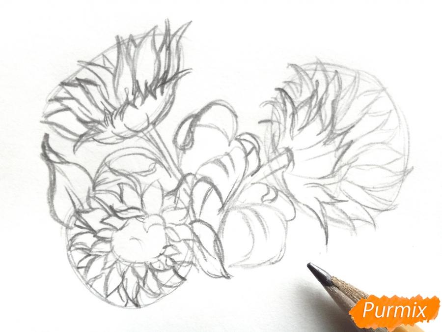 Рисуем подсолнухи в вазе - шаг 3