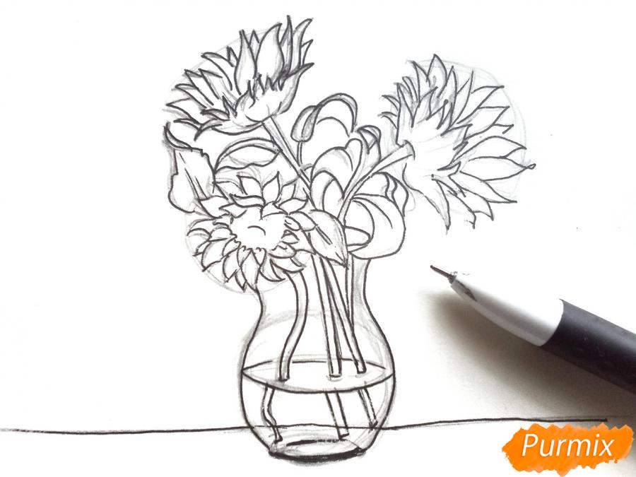 Рисуем подсолнухи в вазе - фото 5