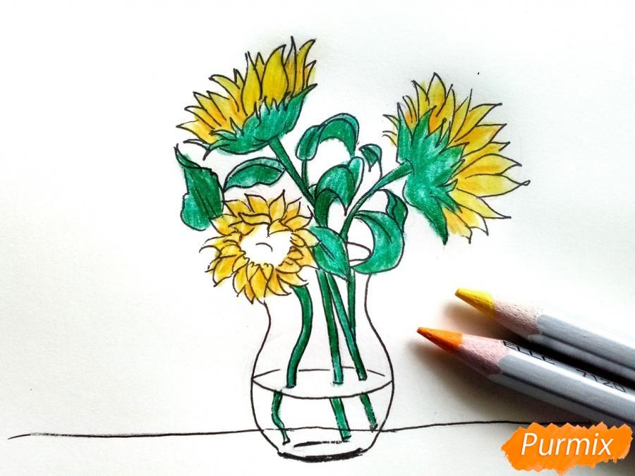 Рисуем подсолнухи в вазе - фото 7