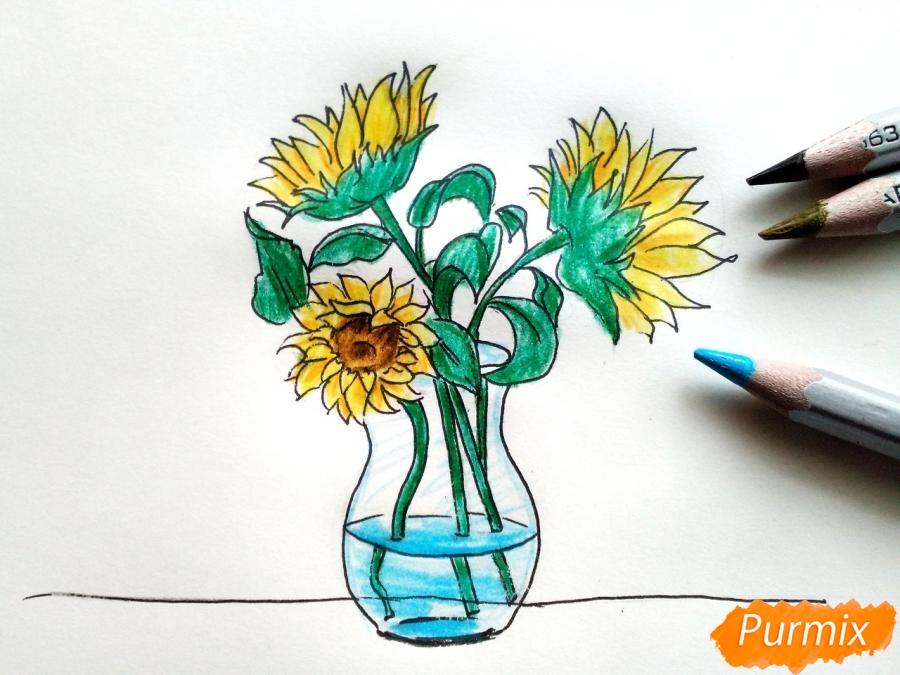 Рисуем подсолнухи в вазе - фото 8