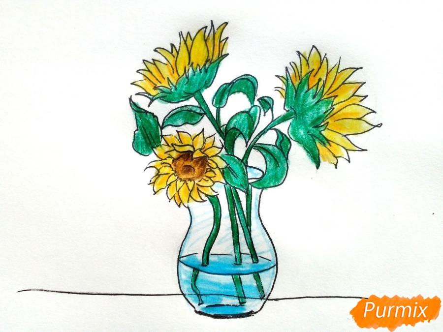 Рисуем подсолнухи в вазе - фото 9