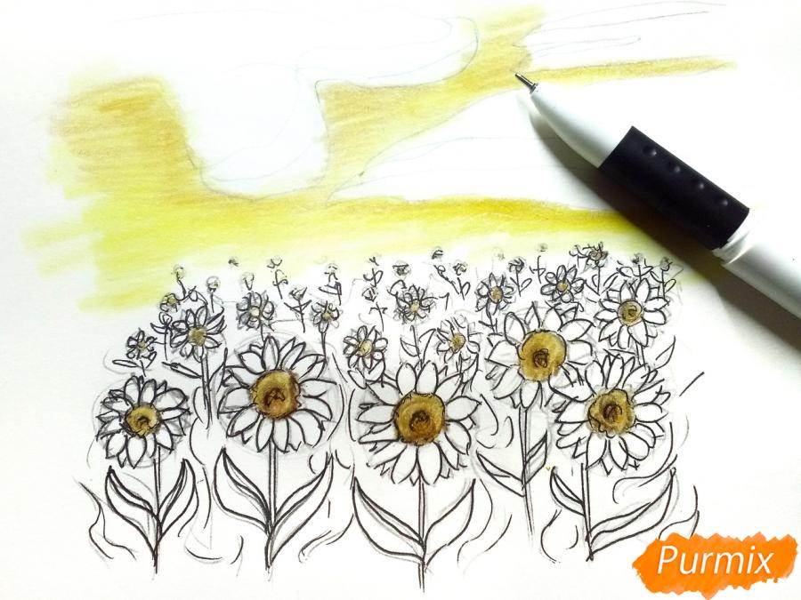 Рисуем поле подсолнухов - фото 6
