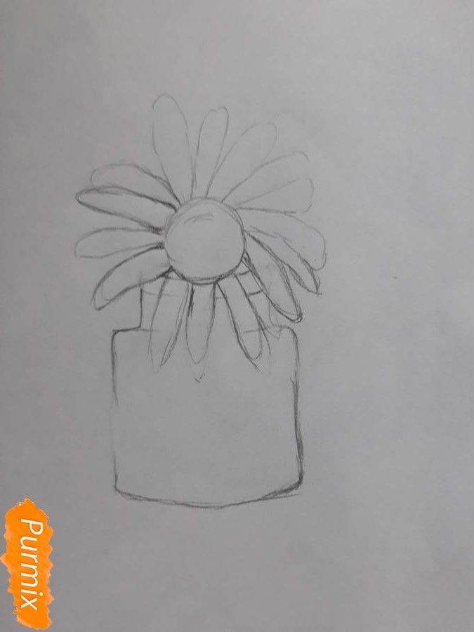 Рисуем ромашку в стеклянной банке - шаг 2